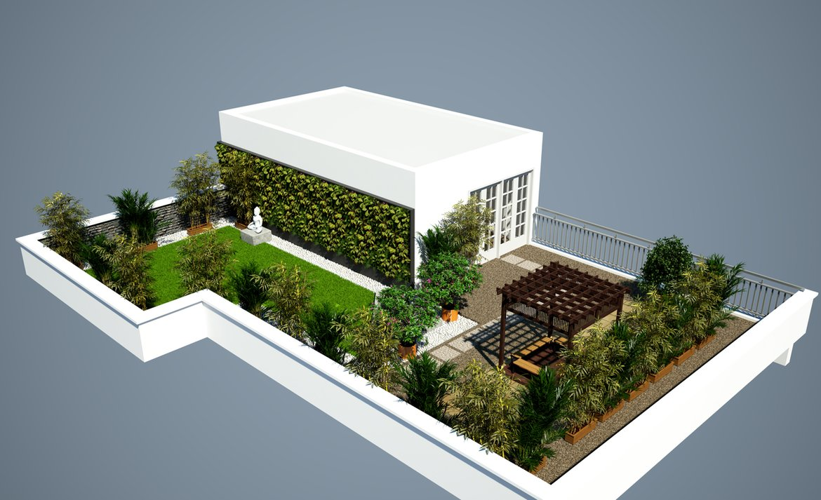 Zen Garden With Evergreen Foliage Terrace Garden